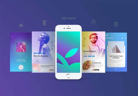 Smartphone mockups set on white background. Free App Screen Mockup (PSD)