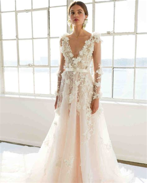 v neck embroidered a line dress marchesa 2017 wedding dress collection martha