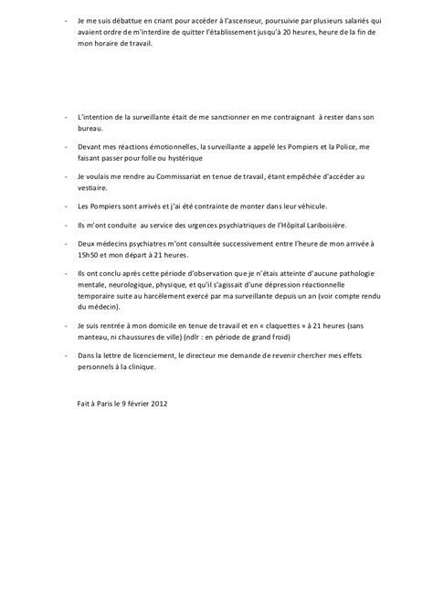 bureau de poste horaire argumentaire suite a la lettre de licenciement du 03