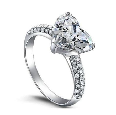 s925 big heart wedding rings for women white gold filled jewelry engagement vintage ring