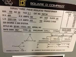 150t3h  R  150kva 480 120v 3ph Sqd Transformer