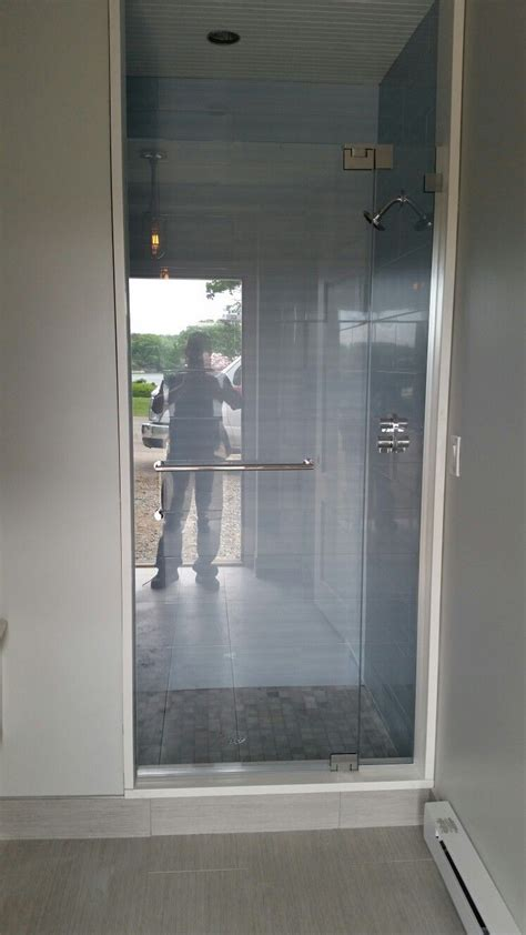 Tempered Glass Shower Doors Frameless by Frameless Shower Door Fixed Panel With No Header And 1