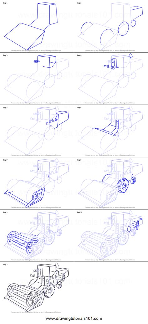 draw combine harvester printable step  step