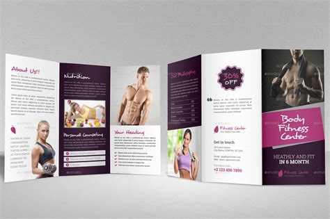 gym fitness trifold brochure indesign template