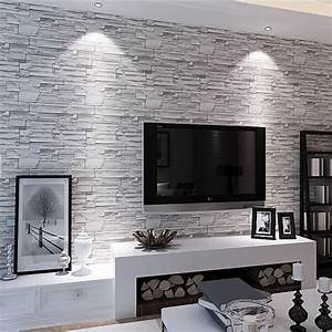 retro imitation stone brick wallpaper personality living ...