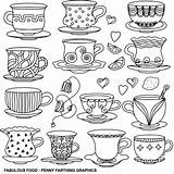 Coloring Coffee Tea Cups Adult Cup Colouring Hearts Colour Foods Printable Cafe Fabulous Sharpie Taza Drinks Cakes English Teacups Patterns sketch template