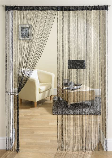 String Curtains by Glam Black String Curtain From Net Curtains Direct