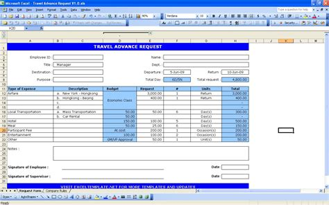 travel budget request template travel request form excel templates