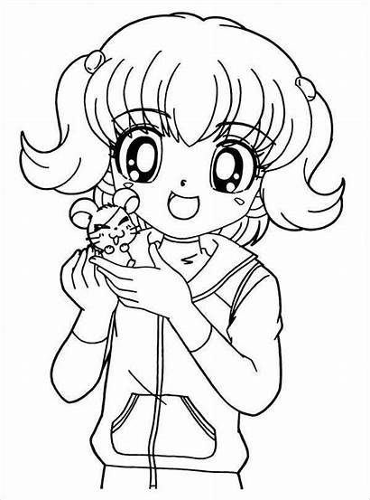 Coloring Anime Printable Pages Colouring Template