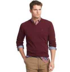 Men's V-Neck Sweater with Dress Shirt
