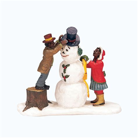 village figurines coventry cove by lemax figurine dressing mr snowman seasonal