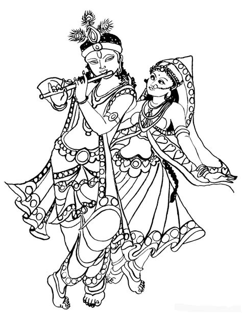 Gods clipart radha krishna #5 | Dance coloring pages