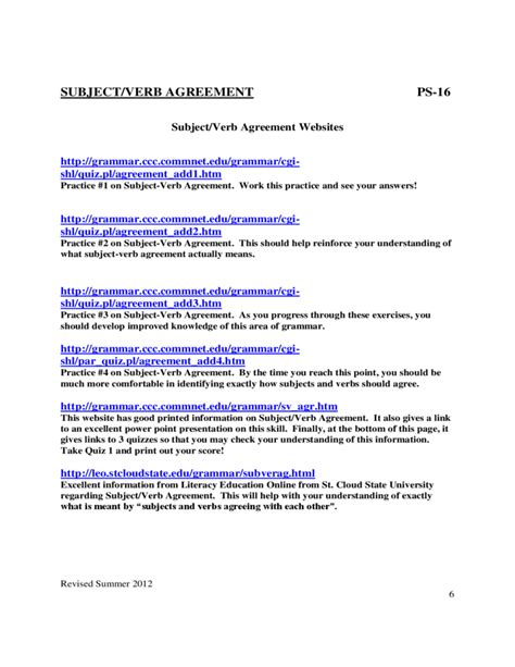 subject verb agreement worksheet 3rd grade pdf subject