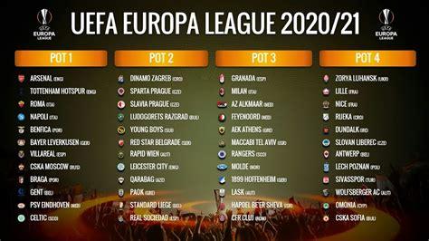 UEFA EUROPA LEAGUE 2020/21 POTS: GROUP STAGE - YouTube