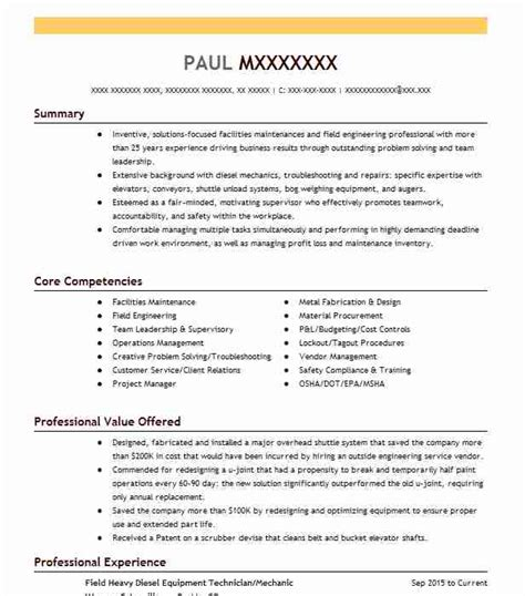 Field Service Resume by Best Field Technician Resume Exle Livecareer