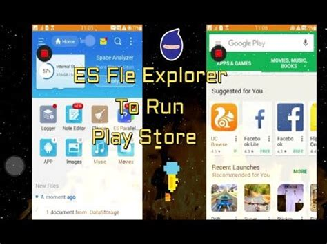 android play store run es file explorer in tizen device