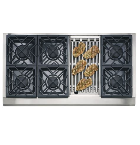 ge monogram  professional gas cooktop   burners  grill natural gas zgunrhss