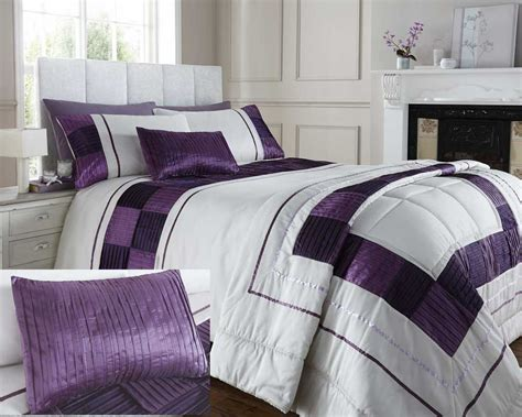 Plum Purple Cream Double King Super King Duvet Cover Or