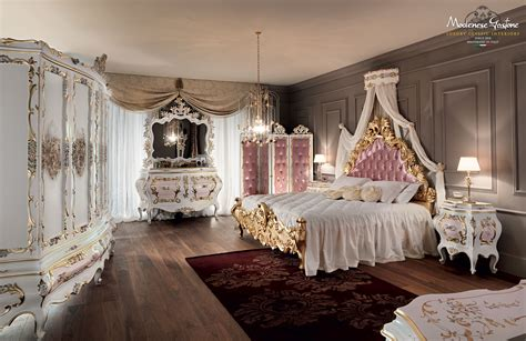 Designing Royalty Inside Set Designs Crown by Pink Bedroom With Carves And Gold Leaf Applications