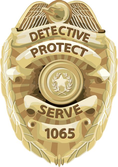 detective badge  clipping path stock illustration