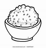 Rice Bowl Cartoon Vector Clipart Coloring Hand Pages Background Food Sheets Beans Illustration Sketch Printable Eating Drawn Isolated Soup Google sketch template