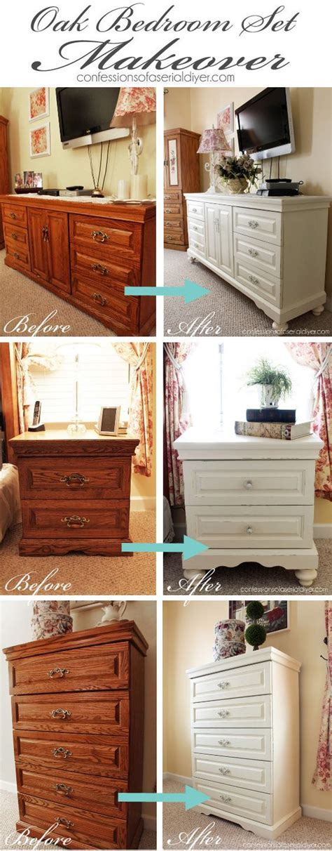 oak bedroom set painted in diy chalk paint the
