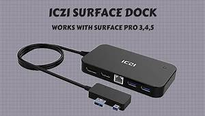 Iczi Surface Pro 3 4 5 Dock With 3 Usb Ports  Display Port