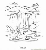 Waterfall Coloring Pages Drawing Nature Printable Waterfalls Colouring Template Stream Tattoo Hippo Sketch Simple Victoria Draw Drawings Print Sketches Sheets sketch template
