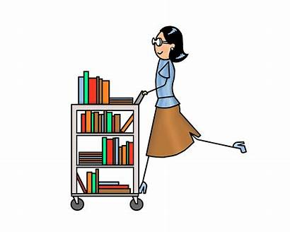 Library Librarian Cart Clipart Clip Trolley Transparent