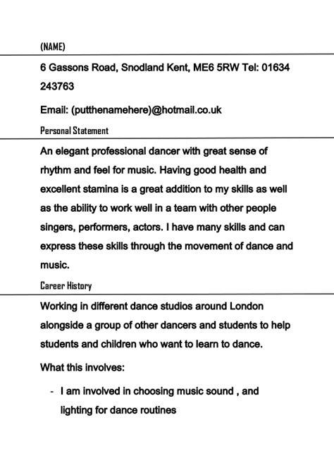 dancer curriculum vitae sle dancer cv