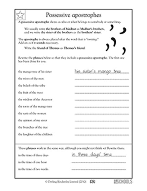 3rd Grade Writing Worksheets Possessive Apostrophes  Language Conventions Pinterest