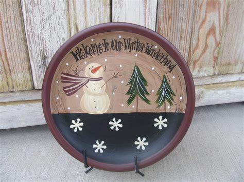 primitive winter snowman  snowflakes winter wonderland hand painted plate  optional plate