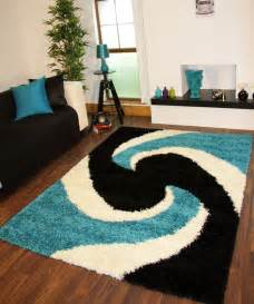 modern teal blue black thick easy clean shaggy rugs