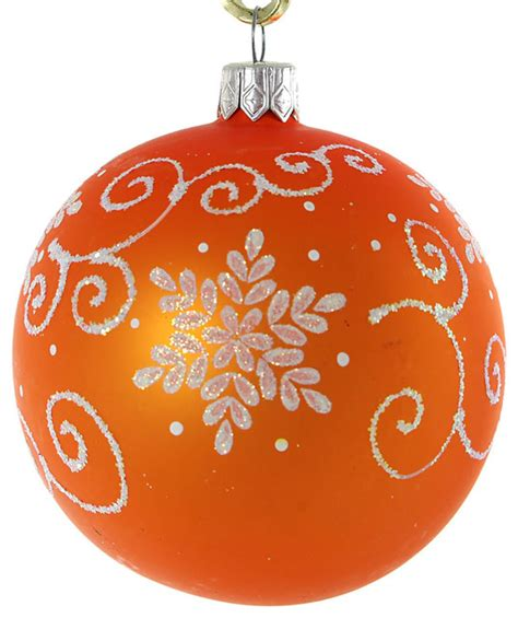 twirl glass christmas ball ornament orange matte