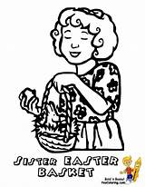 Easter Coloring Basket Pages Yescoloring Baskets Colouring Sister Handsome sketch template