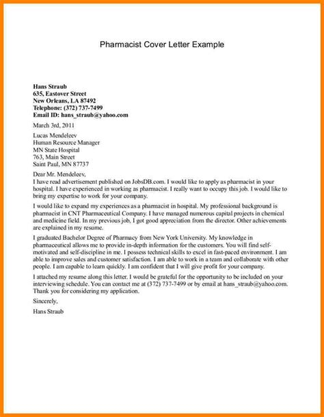 Pharmacy Resume Cover Letter by 12 Cover Letter Exles For Pharmacy Technician Farmer Resume