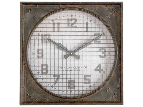 Uttermost Warehouse With Grill Wall Clock