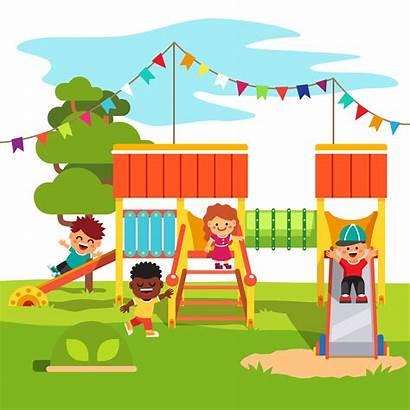 Playground Park Kindergarten Slide Outdoor Cartoon Playing