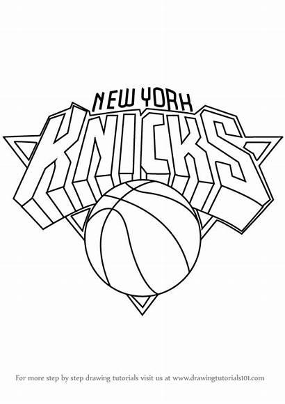 Knicks York Draw Drawing Step Lakers Nba