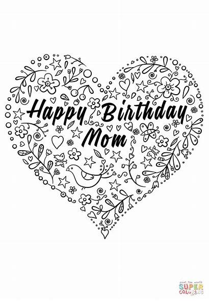 Coloring Birthday Mom Happy Pages Printable Cards