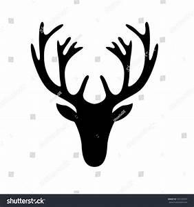 Illustration Deer Head Silhouette Isolated On Stock Vector ...