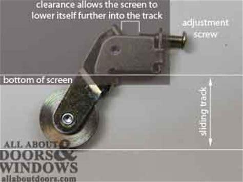 how to adjust peachtree sliding screen door rollers