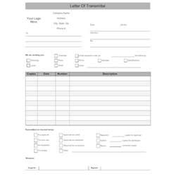 Transmittal Sheet Template Letter Of Transmittal Form