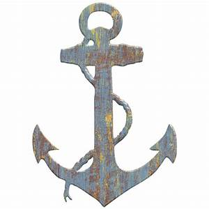 Anchor wood look cut out wall decal rustic nautical beach