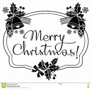 Christmas Label With Written Greeting `Merry Christmas ...