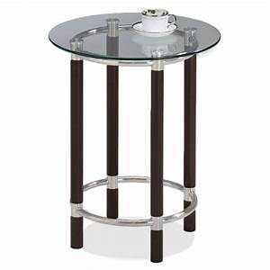 Leick coffee brushed nickel glass top round end table for Brushed nickel coffee table