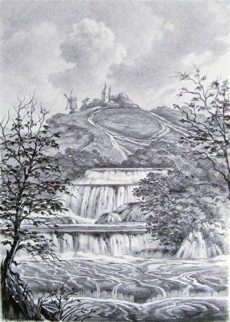 drawing landscape  waterfall author oleg kulagin