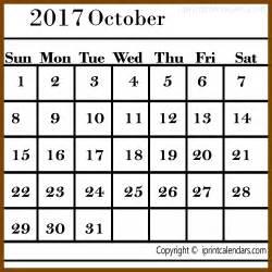 October 2017 Calendar Template