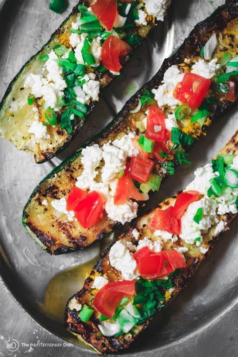 Zucchini Boat Recipes On The Grill by Mediterranean Grilled Zucchini Boats With Tomato And Feta