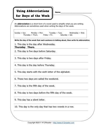 abbreviation days of the week free printable
